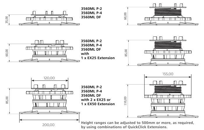 StrataRise 3560 Multi-Level Pedestals - Technical Drawings