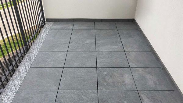 Balcony tiles supported on StrataRise pedestals